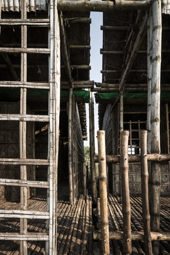 """Each module is tied to four large poles (one at every angle) made from """"Borak"""" bamboo"""