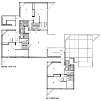 Floor plans. Four one-bedroom houses, two on the ground, two above
