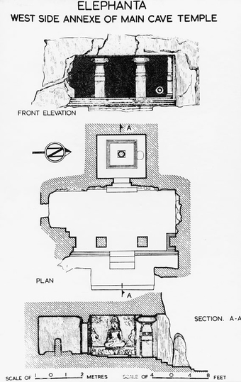Main cave (Cave No.1) - Front elevation, plan and section  Elephanta, rock-cut cave
