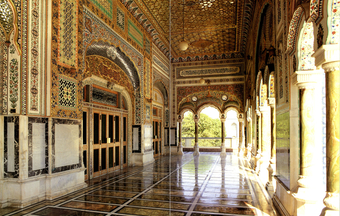 Interior of the portico leading to the main prayer hall, it shows 'rich and lavish' detailing