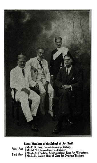 Some Members of the School of Art Staff - Front Row: Mr. E..R. Fern, Superintendent of Pottery; Mr. M.V. Dhurandhar, Head Master.  Back Row:  Mr. A.X. Trindade, Superintendent, Reay Art Workshops, Mr. L.N. Lasker, Head of Class for Drawing Teachers.