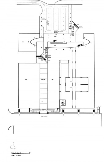 1st Basement Plan: Access ramps and parking areas