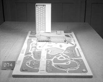 Architectural model, Competition entry 008, City Hall and Square Competition, Toronto, 1958, by Dr. V. J. Mistry of India