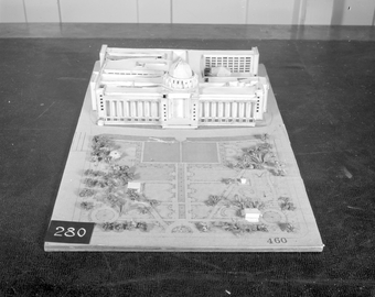 Architectural model, Competition entry 460, City Hall and Square Competition, Toronto, 1958, by J. Narwekar of India