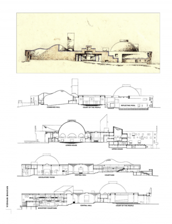 Sketch elevation, and detailed sections through the building.