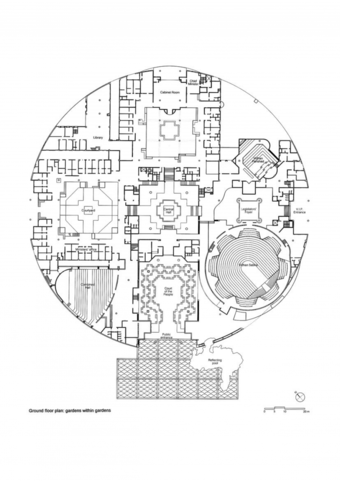 Ground floor plan, showing courtyard gardens 'within gardens'