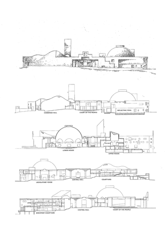 Sketch elevation, and detailed sections through the building