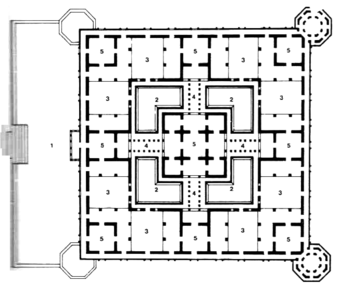 Second Floor Plan:   (1) Entrance porch at Ground Floor level, (2) Ground Floor Terrace, (3) Terrace, (4) Collonaded corridor, (5) Room