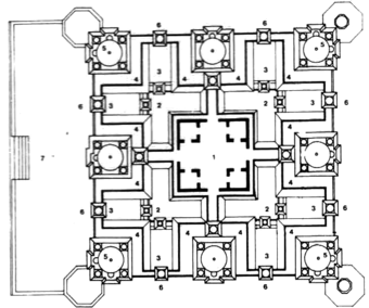 Fourth Floor Plan:   (1) Hall, (2) Ground floor terrace, (3) First floor terrace, (4) Second floor terrace, (5) Dome, (6) Chhatri (7) Entrance porch at Ground Floor level