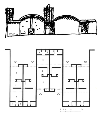 Elevation and Plan: (1) Living  (2) Kitchen, (3) Rear Court, (4) Bathroom, and (5) Toilet