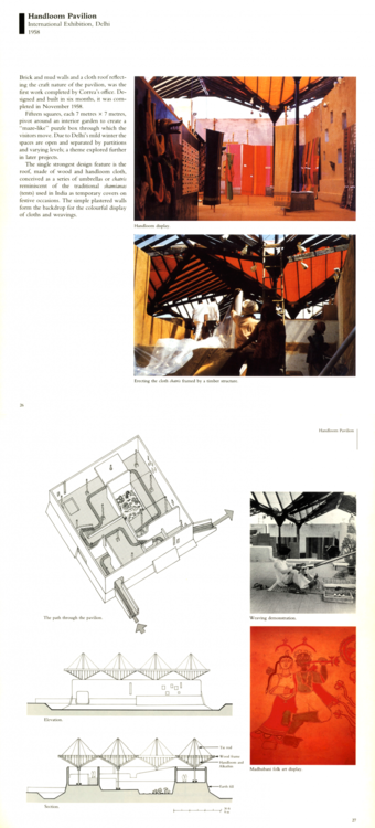 "Khan, Hasan-Uddin, ed. ""Handloom Pavilion, International Exhibition, Delhi - 1958."" In Charles Correa, 30-31. Singapore: Concept Media Ltd., 1987, pp 26-27"