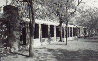 Covered verandas open to the inner courtyard and accommodate the dining area. The veranda's roof continues the boundary that the building presents to the hostile environment.