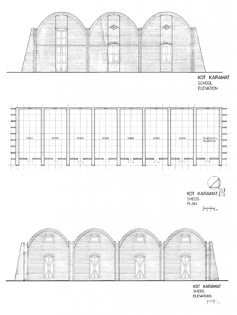 School Elevation (top) and sheds