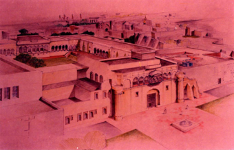 Architect's view of haveli after conservation