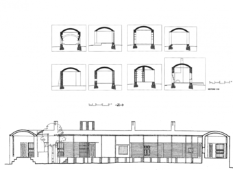 Vault sections (top) and courtyard sectional elevation