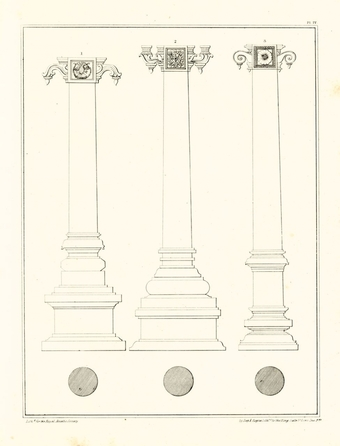 The relative proportions of parts of columns (from Ram Raz, Essay on the Architecture of the Hindus [London: Royal Asiatic Society of Great Britain and Ireland, 1834], plate IV)