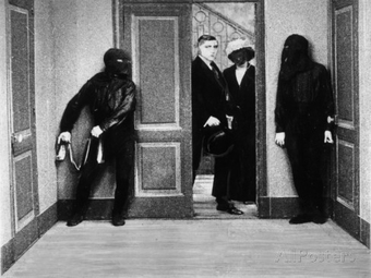Still from Feuillade's Le mort qui tue (The Murderous Corpse), the third film in the Fantômas serials.