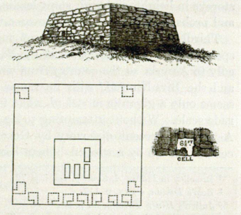 View and Plan of Jarasandha-ka-Baithak, from Cunningham