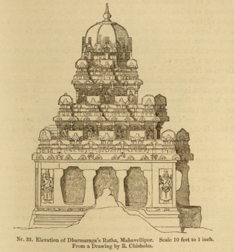 No. 33. Elevation of Dharmaraga's Ratha, Mahavellipur. Scale 10 feet to 1 inch. From a Drawing by R. Cbisholin.