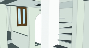 CAD Model, stairwell looking through to the skylit area