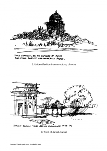 Mehrauli: Unidentified tomb on an outcrop of rocks (top) and Tomb of Jamali-Kamali