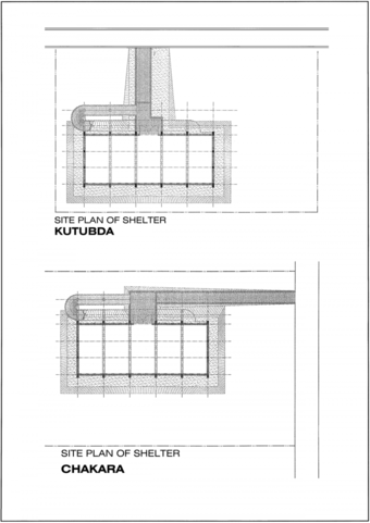 Site plans for Kutubda and Chakara shelters
