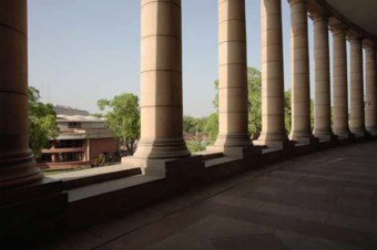 The library viewed from an adjscent colonial era heritage structure, it relates to the parent building as 'a guru relates to the king', says Raj Rewal