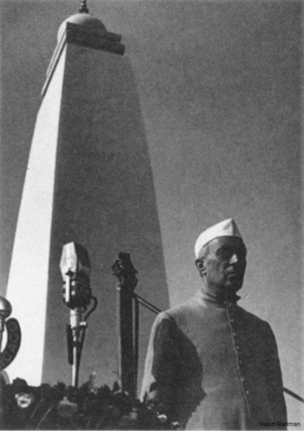 Jawaharlal Nehru at the opening, Gandhi Ghat, January 15, 1949