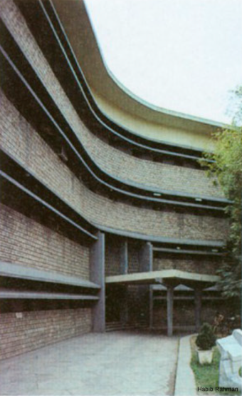The main entrance into the administrative block. This is where the three wings meet, and the entrance hall, lift and staircase are placed here, though each of the three wings have their own staircase for internal vertical circulation.