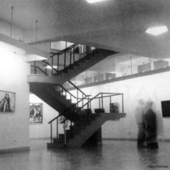 The exhibition hall staircase.