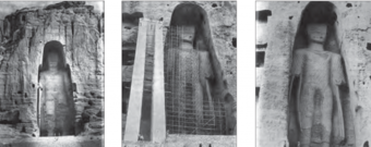 The Western Buddha, left-to-right; before (1969), during and after restoration