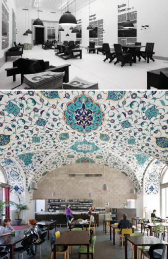 Top: Exhibition Space , Swiss Museum of Architecture; Bottom: Cafe in Museum of Architecture in Vienna