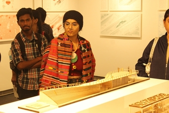 Visitors engaging with 'The Toilet Manifesto' at 'When is Space?' by Mad(e) in Mumbai
