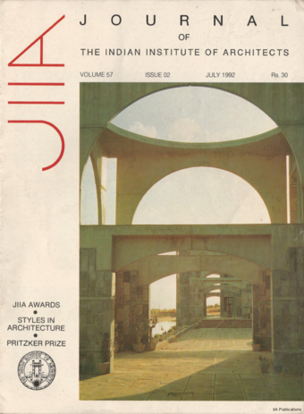 Cover Page, JIIA vol. 57 no 02, July 1992. Showing Indian Institute of Forest Management Bhopal by Anant Raje