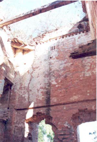Fig 21 : The Govindajee temple interiors. Damaged maso