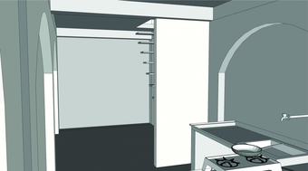 CAD Model, kitchen and family area