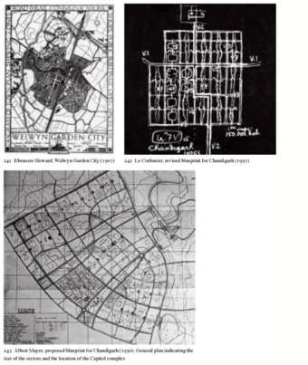 Garden City, Albert Meyer's plan for Chandigarh and Le Corbusier, revised blueprint for Chandigarh