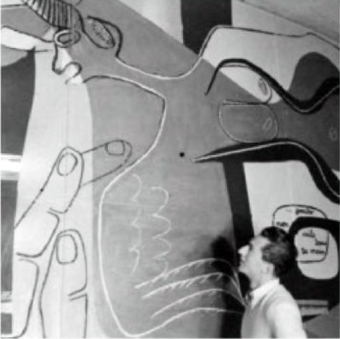 Le Corbusier and Pierre Jeanneret, Pavallion Suisse, Cité universitaire Paris (1929-33) Mural painting in the music room (1949), detail