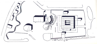 "Site plan for the first version, note the ""Boîte à miracles"""