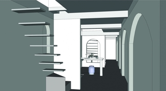 CAD Model, sleeping area and private staircase to the daughter's room