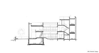 Kubba House, Section through court and 'open plan' areas