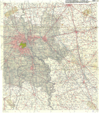 Map 1 – shows the LBZ area within the metropolitan region of Delhi