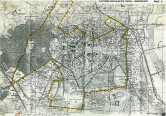 Map 2 – shows the LBZ area boundary as delineated by the Committee of Lutyens Bungalow Area, New Delhi, February 1993, constituted by the Ministry of Urban Development, Government of India