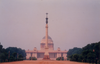 Photograph 2 – The Jaipur Column in the foreground and Rashtrapathi Bhavan in the background