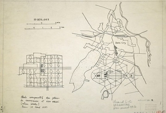 A 1951 sketch by Le Corbusier, with the plan for Chandigarh, left, against one of Delhi.