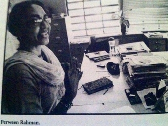 """Parveen Rehman in her Orangi office. She changed the lives of half a million people. Orangi lost a mother figure."" Image from Twitter user @Alexpressed"