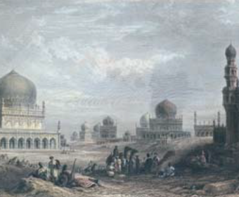 Early views of the site show the Qutb Shahi Tombs in a wide expanse of land. Paintings ...