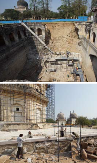 ...  followed by emergency repair works at Badi Baoli and Jamshed Quli Qutb Shah's Tomb