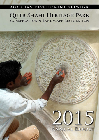 (Cover Page) Over 40 layers of paint were painstakingly removed by conservators to reveal original 16th century plaster medallions that had remarkably survived the centuries at the Idgah.