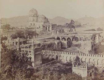 Jamshed Quli Qutb Shah's Tomb and adjoining tombs, early 1860's.